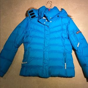 Blue Bogner Ski Jacket with Detachable Fur
